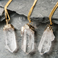 Crystal Necklace • Quartz Necklace • Crystal Point Necklace • Quartz Crystal Necklace • Gold Necklace • Boho Necklace • Stone Necklace