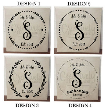 Personalized Last Name Established Tile, Last Name Initial, Mr and Mrs, Decor, Wedding Gift, Couples Gift, Bride to be, Home Decor
