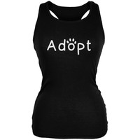 Adopt Cat Dog Paw Black Juniors Soft Tank Top