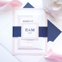 Light Pink and Navy Wedding Invitation - SAMPLE SET