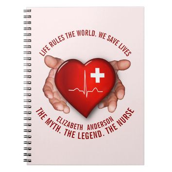 Registered Nurse With Red Heart In Hands Spiral Notebook