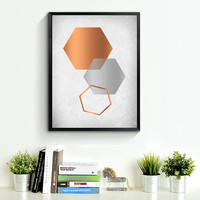 Blush Print, Blush Wall Art, Blush Poster, Copper Print, Copper Scandinavian Print, Blush Home Decor, old paper texture, Hexagon Art *194*