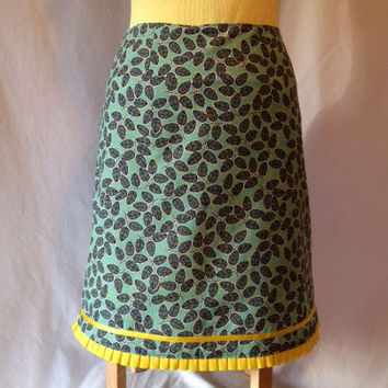 Customizable A-Line Skirt -- MInt Green, Yellow Dots, Yellow Trim -- Cotton -- Lined -- Back Zipper