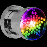 0 Gauge Stainless Steel Star Light Up Scew Fit Plug Set | Body Candy Body Jewelry