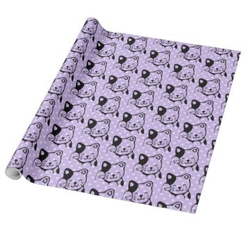 Cute Black and White Kitty Cat Waving Hello Wrapping Paper