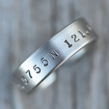 Valentine's Day For Him - Personalized Silver Latitude Longitude Brushed Ring Rustic Unique Adjustable Gift for Him Fathers Day Unique Gift
