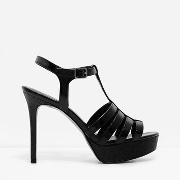 Black T-Bar Caged Platform Sandals | CHARLES & KEITH