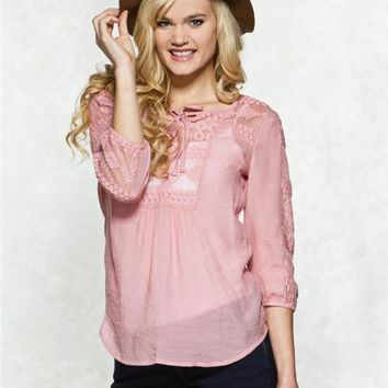 Spoiled Lace Peasant Top