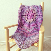 Purple Star Crochet Baby Blanket