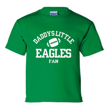 DADDYS LITTLE Eagles Fan Green Eagles Printed Football Tee Great Shirt For Youth and Toddler