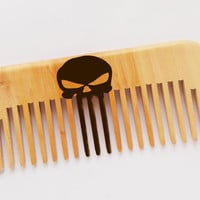 Skull Beard Comb Punisher Skull Comb Personalized wooden comb hand engraved comb moustache comb Hair grooming beard care Gifts for men