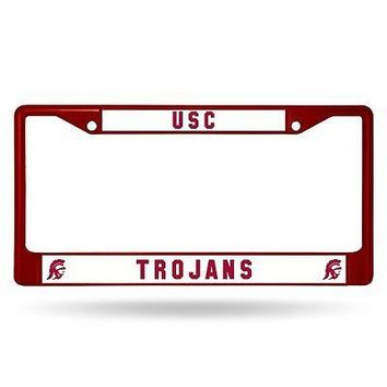 USC Trojans NCAA Licensed Maroon Painted Chrome Metal License Frame