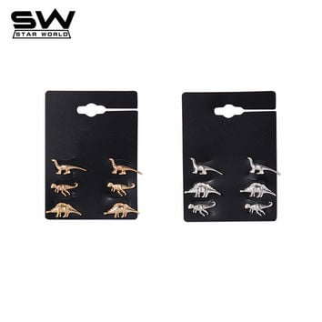STARWORLD fine stud earrings animal dinosaur metal stud earring wedding engagement jewelry earrings for women men 3 Pairs/Set