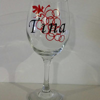 Personalized Custom Vinyl Glass Wine Glass