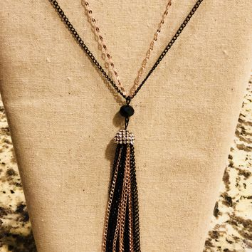 Black and gold Tassel necklace