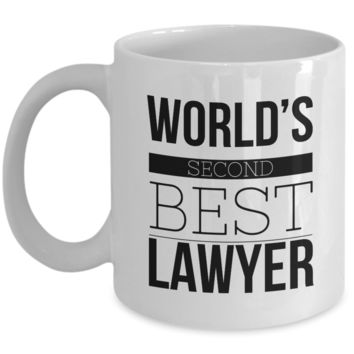 Lawyer  Coffee Mug - World's Second Best Lawyer Funny Ceramic Coffee Cup
