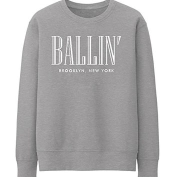 BALLIN PARIS NEW YORK BROKLYN Unisex Crewneck Sweatshirt Top Funny - Grey