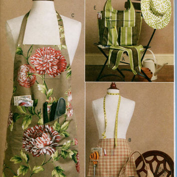 Mint Condition Gardening Sewing Craft Full & Half Aprons Totes Gardening Sleeves Wide Brim Hat Butterick 5506 Size Sm Med Lrg UNCUT Patterns