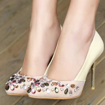 Classic Spool Heels Summer Platform Pumps y Pointed Toe Slip On Women Shoes Ethnic Colorful Rhinestone Thin High Heels Alternative Measures