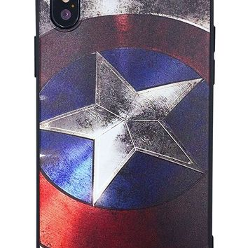 iPhone X case Captain America, marvel, superheroes, comics Protective Hard silicone Cover Case for iPhone X + Tempered Glass Screen Protector For iPhone X