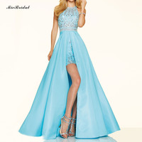 MicBridal Short Front Long Back Prom Dresses 2016 White Blue Prom Dress Slit Special Occasion Dress Halter Party Formal Gown