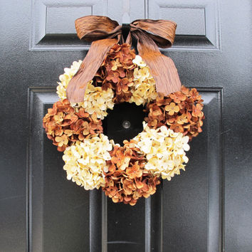 Fall Wreaths For Door Hydrangea Wreath Coffee and Cream Hydrangeas Autumn Front Entryway Decor