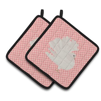 Silver Fantail Pigeon Pink Check Pair of Pot Holders BB7950PTHD