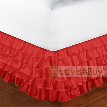 1000TC Egyptian Cotton Red Multi Layered Ruffle Bed Skirt - Size Choice