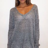 Oversized V-neck Sweater - Black/Grey