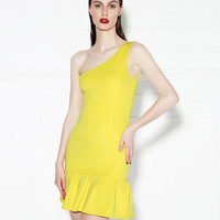 Shoulder Oblique Bodycon Mini Dress with Ruffled Bottom