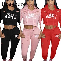 Boayours Casual Ladies 2 Piece Set Women Letters Print Rompers Jumpsuit Womens Tops And Long Bodycon Pants Outfits 2018 Overalls