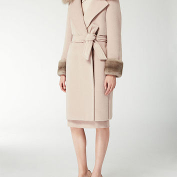 Alpaca and wool teddy bear coat, pink - VARGAS Max Mara