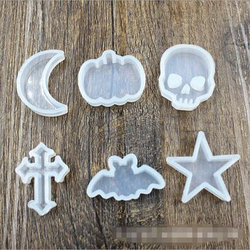 Skull bat Stars Moon Silicone mould Pendant Mould For Resin Real Flower DIY Mould Jewelry Making Tool resin molds for jewelry