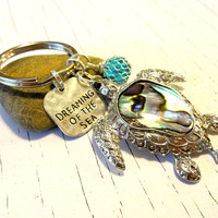 Dreaming of the Sea Turtle Key Chain, Paua Shell Turtle