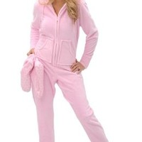 Del Rossa Women's Fleece Hooded Footed One Piece Onesuit Pajamas, Large Blue Snowflake (A0322P35LG)