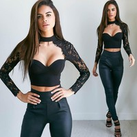 Lace Long Sleeve Crop Tops