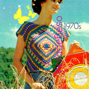 Top Crochet Pattern Retro 1970s Granny Slip On Crochet Pattern Crop Top Crochet Pattern Instant Download PDF Pattern Vintage Beso