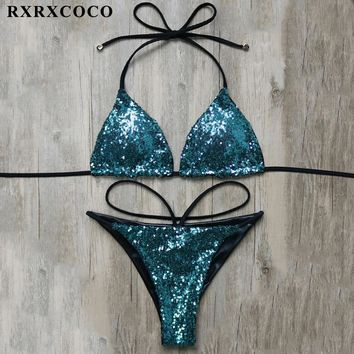 RXRXCOCO Sexy Bikini 2018 New Sequin Design Swimwear Women Brazilian Two Pieces Bikini Solid Low Waist Bikinis Set Bathing Suits