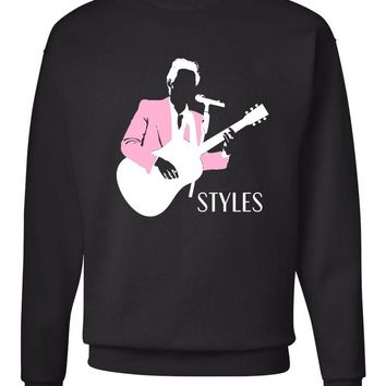 "Harry Styles ""Pink Jacket Stencil"" Crew Neck Sweatshirt"