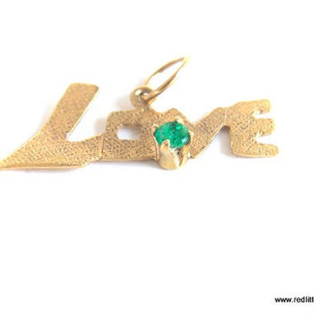 18k Gold Pendant of a the word LOVE with Colombian Emerald-- Love, 18k Jewelry,