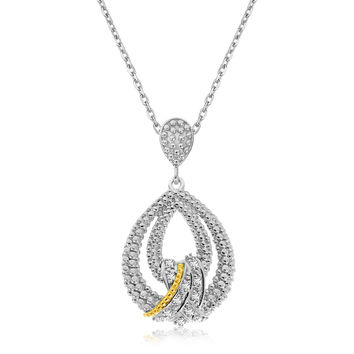 Diamond Embellished Double Teardrop Silver Pendant & Necklace