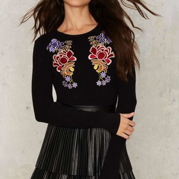 Glamorous All Things Grow Embroidered Sweater