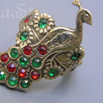 Art Nouveau Ring  Peacock Flower Cocktail Gold Gilt Silver Antique Jewelry