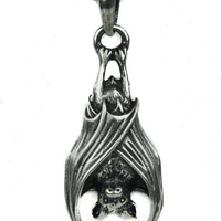Hanging Vampire Bat Necklace Gothic Halloween Jewelry