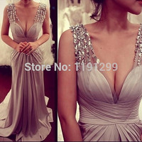Swarovski Crystal Women's Evening Dress Deep V prom dresses Neck Beading Shoulder Long Elegant Prom Dress