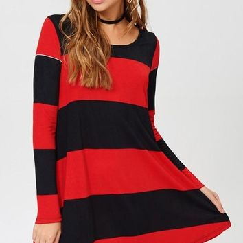 Striped Tunic Dress with Pocket - Red