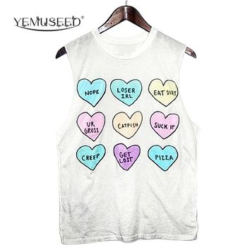 YEMUSEED Hot Women New BFF Hearts Printed T shirt Women Lady Sleeveless Rainbow Aliens Head Tees Tumblr WMT220