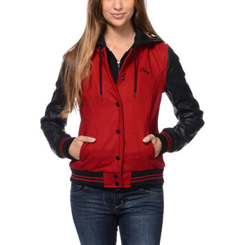 Obey Varsity Red & Black Varsity Jacket at Zumiez : PDP