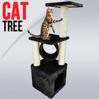 My1stPet Cat Tree Scratching Post, Black, 36""