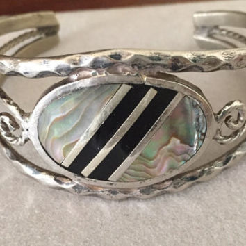 Vintage Alpaca Silver Cuff Bracelet with Abalone Shell, Hand Crafted, Alpaca Mexican Bracelet, Gift Idea,Small Size